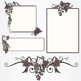 Ornate frames with grapes leaves and vine Stock Photo