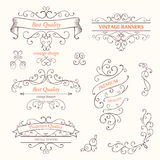Ornate Frames and Scroll Design Elements Stock Images
