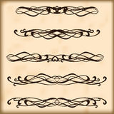 Ornate frames and scroll elements. Set of vintage design elements for page text. Retro design elements text dividers and decorations Stock Image