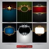 Ornate frames. Six richly decorated frames of different colors on a gray background Stock Photo