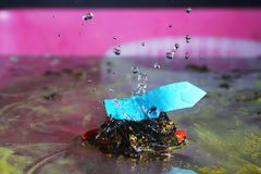 Colorful signpost with water drops. Ornate frozen water drops as background images Royalty Free Stock Images
