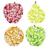 Ornate fruits icons Royalty Free Stock Photography