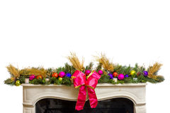 Ornate Garland on Top of a Fireplace Stock Photo