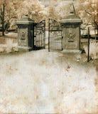 Ornate Gate on Grunge Background royalty free stock photos