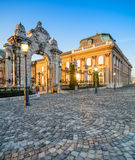 Ornate gates into Buda Castle in Budapest early morning Stock Photo