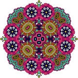 Ornate geometric symmetrical pattern over white. Ornate geometric symmetrical pattern with intricate detailed pink  blue and yellow floral shapes over white Stock Photo