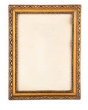 Ornate gilded antique pirture frame isolated on white. Ornate gilded but simple antique pirture frame isolated on white. Clipping path inside and outside Stock Image