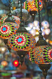 Ornate glass lights at a market stall Royalty Free Stock Image