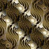 Ornate gold brown 3d abstract vector seamless pattern. Textured. Ornamental greek background. Halftone waves, geometric radial shapes, lines, greek key meander stock illustration