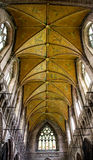 Ornate gold ceiling in a medieval cathedral, UK Royalty Free Stock Photo