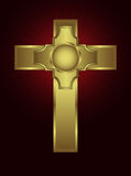 An ornate gold cross on a maroon background Stock Image