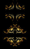 Ornate Gold Curves On Black Stock Image