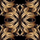 Ornate gold 3d Baroque seamless pattern. Floral vintage ornament. Al vector background. Abstract flowers, scroll leaves, antique damask ornaments in baroque Stock Image