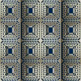 Ornate gold 3d checkered greek vector seamless pattern. Geometri. C abstract squares background. Repeat surface backdrop. Trendy greek key meanders ornament with vector illustration