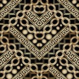 Ornate gold 3d geometric vector seamless pattern. Greek key meander background. Abstract ornamental decorative ethnic style design. Modern ornament with stock illustration