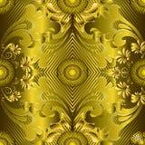 Ornate gold 3d greek vector seamless pattern. Striped geometric. Ornamental golden background. Vintage Baroque Damask flowers, leaves. Abstract modern design royalty free illustration