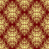 Ornate gold floral ornamental Pattern on red. Stock Photos