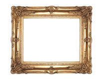 Ornate gold frame. Isolated on white background Royalty Free Stock Photography