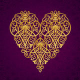 Ornate gold heart. Royalty Free Stock Photo