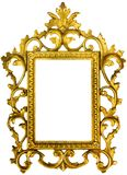 Ornate gold picture frame isolated with paths. Beautiful ornate golden colored picture frame isolated on white with paths  for frame and inside of frame Royalty Free Stock Photography