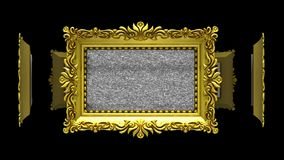 Ornate gold picture frames rotate in a circle on black background. Seamless loop, 3D animation with tv noise and green. Ornate gold picture frames on black, tv stock footage