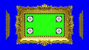 Ornate gold picture frames rotate in a circle on blue background, chroma key. Seamless loop, 3D animation with motion. Ornate gold picture frames on blue, motion stock video