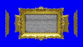 Ornate gold picture frames rotate in a circle on blue background, chroma key. Seamless loop, 3D animation with tv noise. Ornate gold picture frames on blue, tv stock video footage
