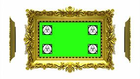 Ornate gold picture frames rotate in a circle on white background. Seamless loop, 3D animation with motion tracking. Ornate gold picture frames on white, motion stock video