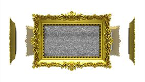 Ornate gold picture frames rotate in a circle on white background. Seamless loop, 3D animation with tv noise and green. Ornate gold picture frames on white, tv stock footage