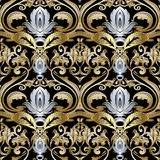 Ornate gold silver Baroque seamless pattern. Damask ornamental vector background. Vintage floral ornaments with beautiful 3d flowers, leaves, scrolls, swirls Royalty Free Stock Images