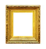 Ornate gold wood frame isolated on white Stock Photography