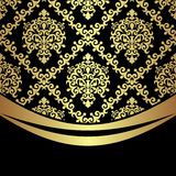Ornate golden damask Background with golden Border on black. Stock Photos