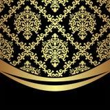 Ornate golden damask Background with golden Border on black. Ornate golden damask Background with golden Border on black is presented Stock Photos