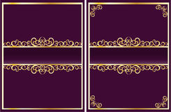 Ornate golden frame on violet background Stock Image