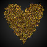 Ornate golden heart Stock Photography