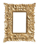 Ornate golden picture frame isolated Stock Photo