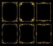 Free Ornate Golden Vector Frames Set Over Black Background Royalty Free Stock Photos - 86878278
