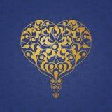 Ornate golden vector heart in Eastern style. Stock Photos