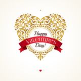 Golden heart, Valentine`s Day greetings. Stock Images
