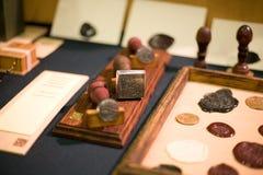Ornate graven iron signet and Stock Photos