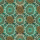 Ornate greek jewelry vector seamless pattern. Ornamental modern background. Repeat patterned geometric backdrop. Beautiful ancient. Greek key meanders mandala stock illustration