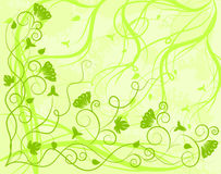 Ornate green background. With scrolls, flowers, grunge elements Royalty Free Stock Photos