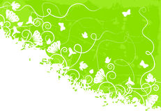Ornate green background. With scrolls, flowers, grunge elements Royalty Free Stock Images