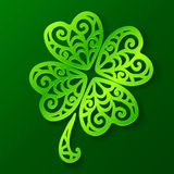 Ornate green cut out paper clover Royalty Free Stock Images