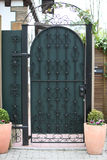 Ornate green metal entry gate Royalty Free Stock Images