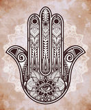 Ornate Hamsa Hand luck amulet. Royalty Free Stock Photos