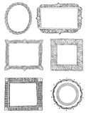 Ornate hand drawn frames three. Set of six different hand drawn frames. Easy to edit Royalty Free Stock Photography