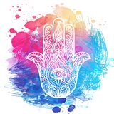 Ornate hand drawn hamsa. Popular Arabic and Jewish amulet. Vector illustration over colorful watercolors. Ornate hand drawn hamsa. Popular Arabic and Jewish royalty free illustration