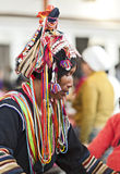 Ornate Headwear of Hani People Stock Photo