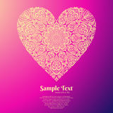 Ornate heart. mandala pattern. Bright ornate heart. mandala pattern on pink bacgroun Stock Photos